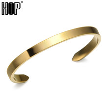 HIP Hop Gold Color Titanium Stainless Steel Arrow Open Cuff Bangles Bracelet for Men Women Fashion Jewelry(China)