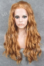 K06 Popular 26inch Wavy 27# Strawberry Blonde Color Synthetic Lace Front Wigs Heat Resistant Heavy Density kanekalon Ladies Wigs