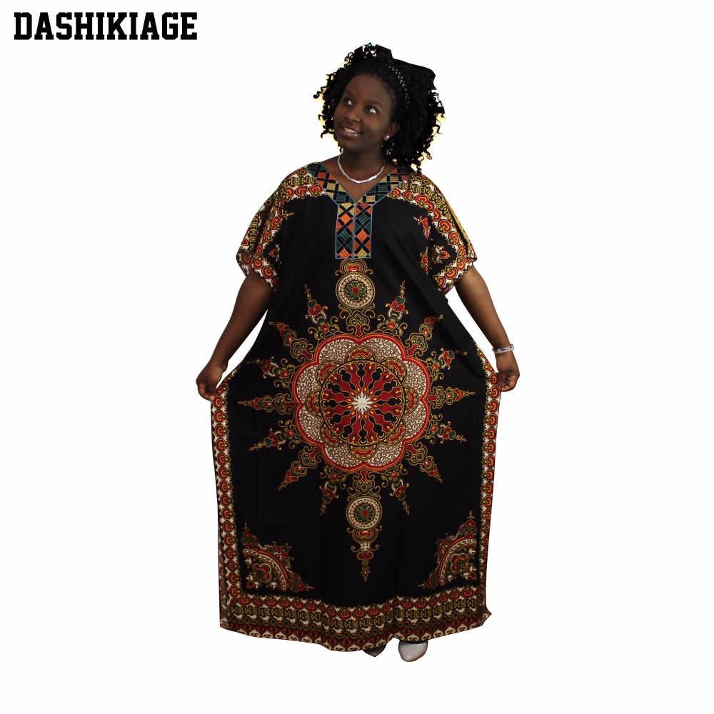US $16.05 5% OFF|Dashikiage 100% Cotton Fashion Women Traditional African  Print Dashiki Party Plus Size Long Dress Maxi Dress-in Dresses from Women\'s  ...