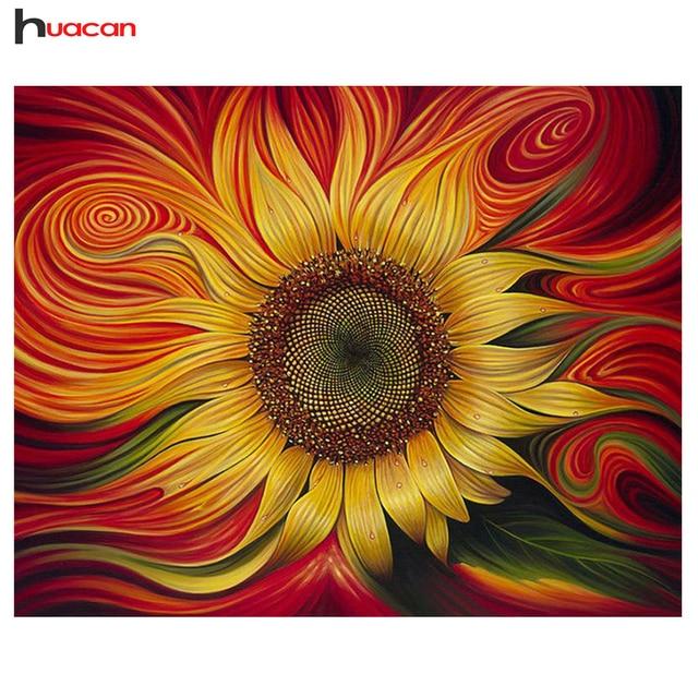 "Huacan,Diamond Painting Cross Stitch""Flower""Full Square Crystal,Diamond Embroidery Mosaic Sunflower Needlework Craft Home Decor"