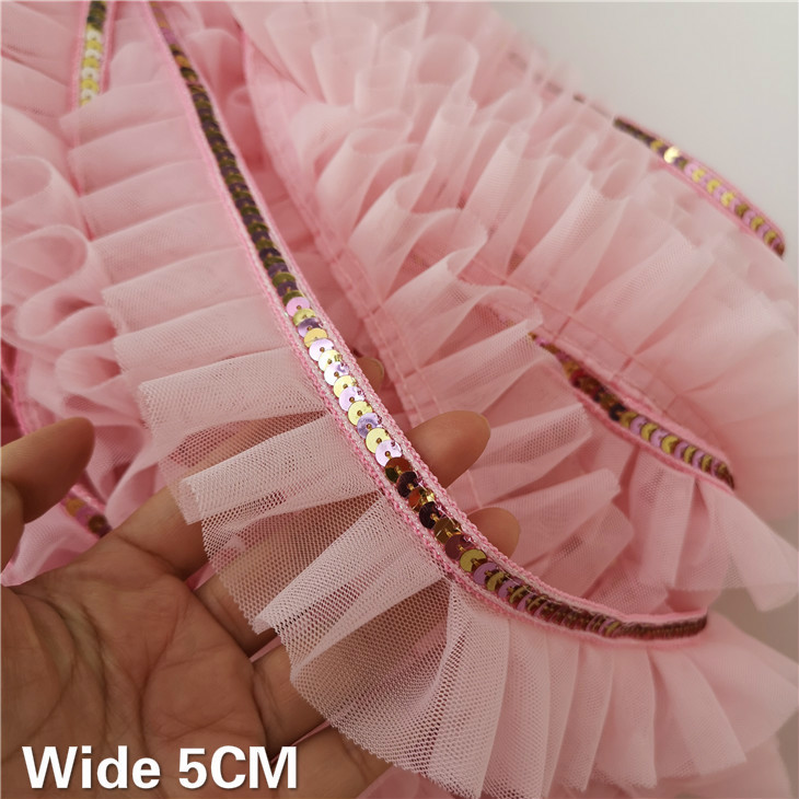 5CM Wide Luxury Pink 3D Pleated Lace Glitter Sequins Ribbon Ruffle Trim Collar Prom Dress Clothing DIY Applique Guipure Supplies(China)
