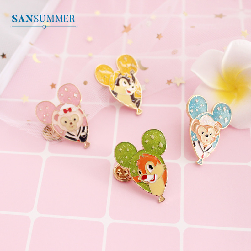SANSUMMER Feamle Designer Jewelry Luxury Brooches Cartoon Cute Oil Drop Animal Balloon Bear Monkey Squirrel Brooch 5836