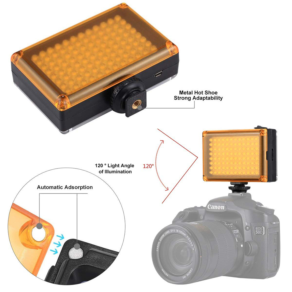 Купить с кэшбэком Photographic Lighting 112 LED Bi-Color 3200K-5600K Adjustable Phone Video Light For Youtube Live Streaming For Canon Nikon Flash