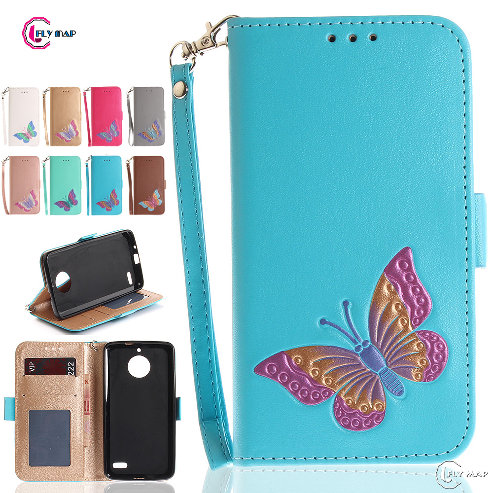 Butterfly Flip Case for Motorola Moto E4 E 4th Gen XT1767 Wallet Card slot Case Phone Leather Cover for Moto E Gen 4 Capa Bag