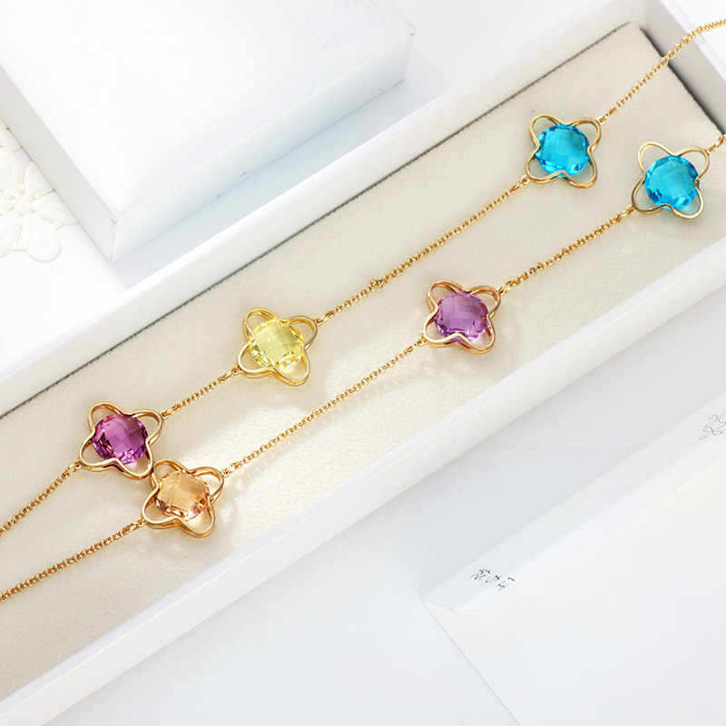 Neoglory Cristallo Colorato Collana Lunga Del Pendente Perline Geometriche Vestito Per La Signora Del Partito Impreziosito da Cristalli Swarovski