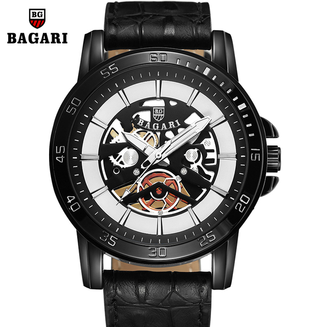 cd86547062f BAGARI Fashion Casual Relogio Masculino Luxury Sports Clock Stainless Steel  Band Round Men Quartz Watches Water