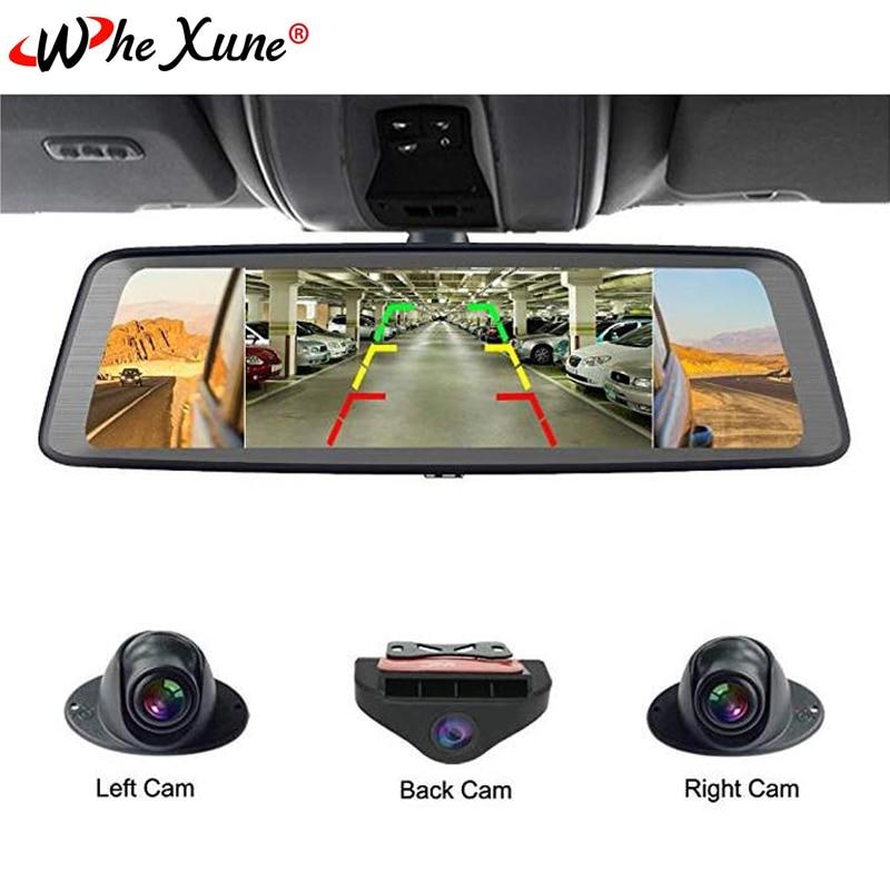 """WHEXUNE 10 """"tactile ADAS Android 5.1 complet 1080 P voiture Dash Cam 4G enregistreur vidéo rétroviseur avec caméra DVR 8 Core 4 canaux"""