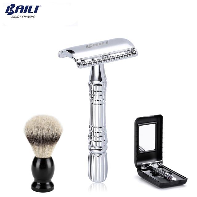 Baili atualizar molhado escova de barbear lâmina de segurança navalha barbeador lidar com barbeiro manual barba cuidados com os cabelos + caso viagem bd176