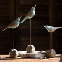 Pastoral Style Resin Seabirds Decor Home Window Creative Decoration Wine Cabinet Vintage Birds Crafts Sent Friend Art Figurines