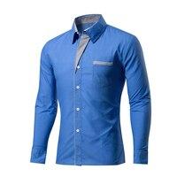 Shirt 2016 New Fashion Brand Mens Shirt Dress Shirts Long Sleeve Solid Color Men's Clothing Casual Factory Direct Sale Haoyu