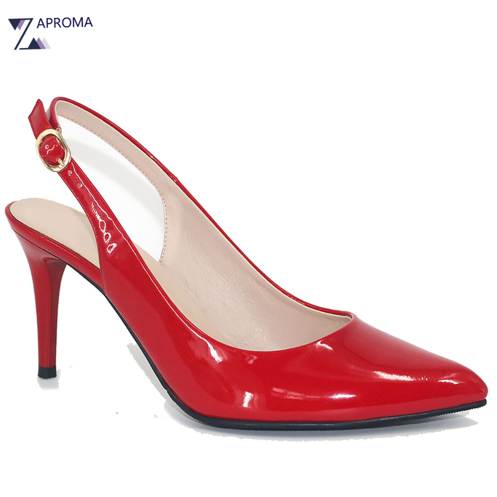 Women Party Wedding Shoes Retro Super High Heels Red Pumps Pointed Toe Thin Heel Slingback Buckle PU Bow Shoe Spring Autumn 2017 moonmeek new arrive spring summer female pumps high heels pointed toe thin heel shallow party wedding flock pumps women shoes