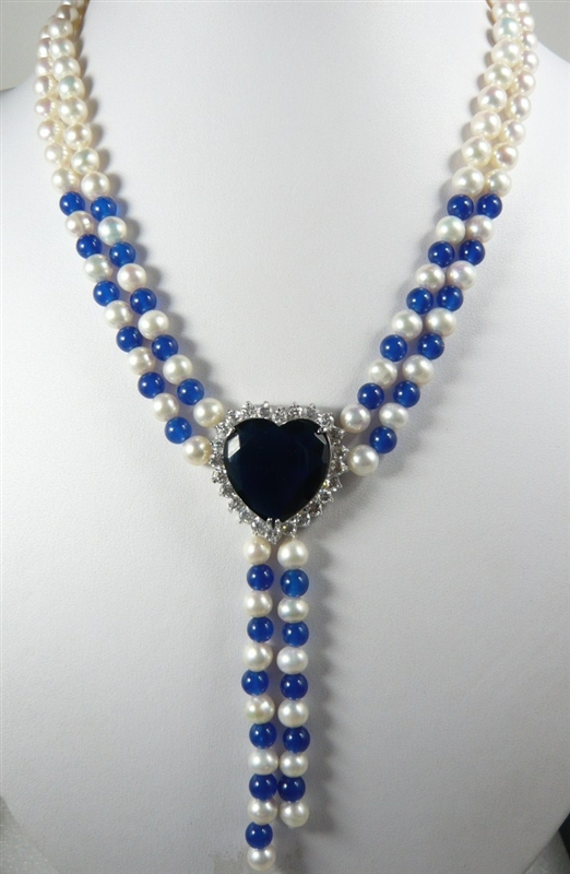 2 rows 7 8MM White Genuine Freshwater Pearl blue jades bead pendant necklace 18inches