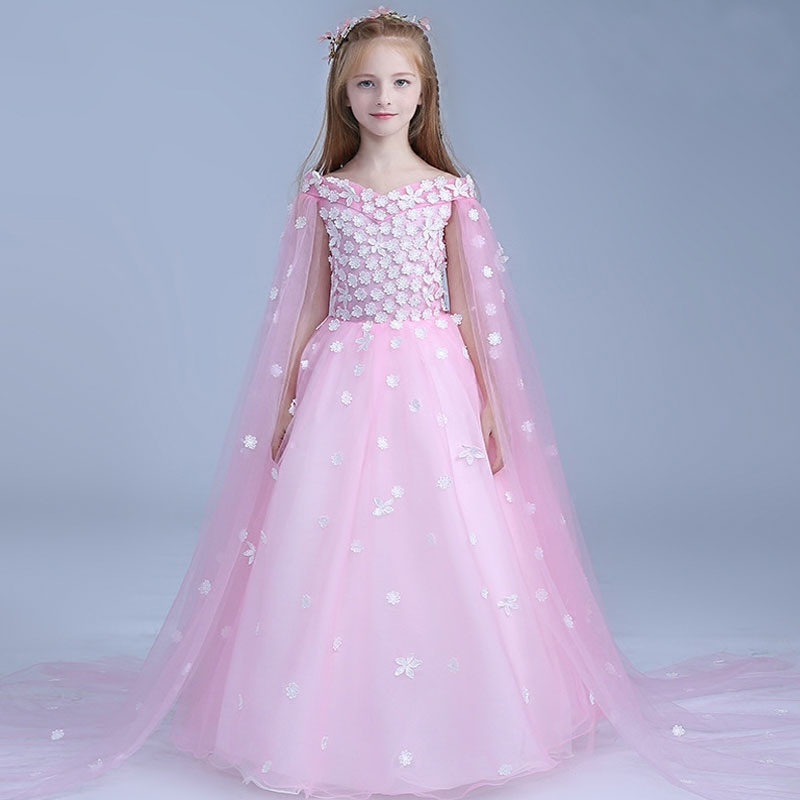 New Luxury Flower Girl Dress Birthday Wedding Dresses Long Princess Dress Appliques Girls Dresses For Evening Party AA221