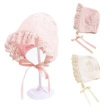 Кружевная шапочка принцессы для новорожденных; детская шапочка; розовая шапочка для маленьких девочек; реквизит для фотосессии; подарок для душа; 3-10 м