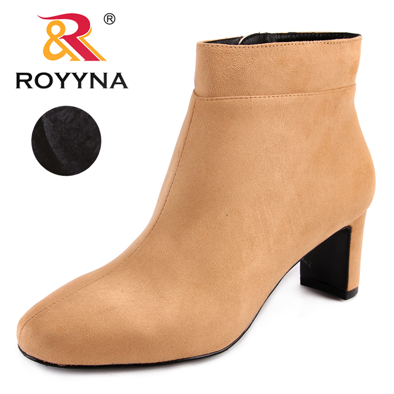 ROYYNA New Arrival Fashion Style Women Boots Flock Women Winter Shoes Zipper Lady Ankle Boots Comfortable Light Free Shipping new arrival women ankle boots square heel shoes women fashion footwear comfortable new designers zipper western ladies zapatos