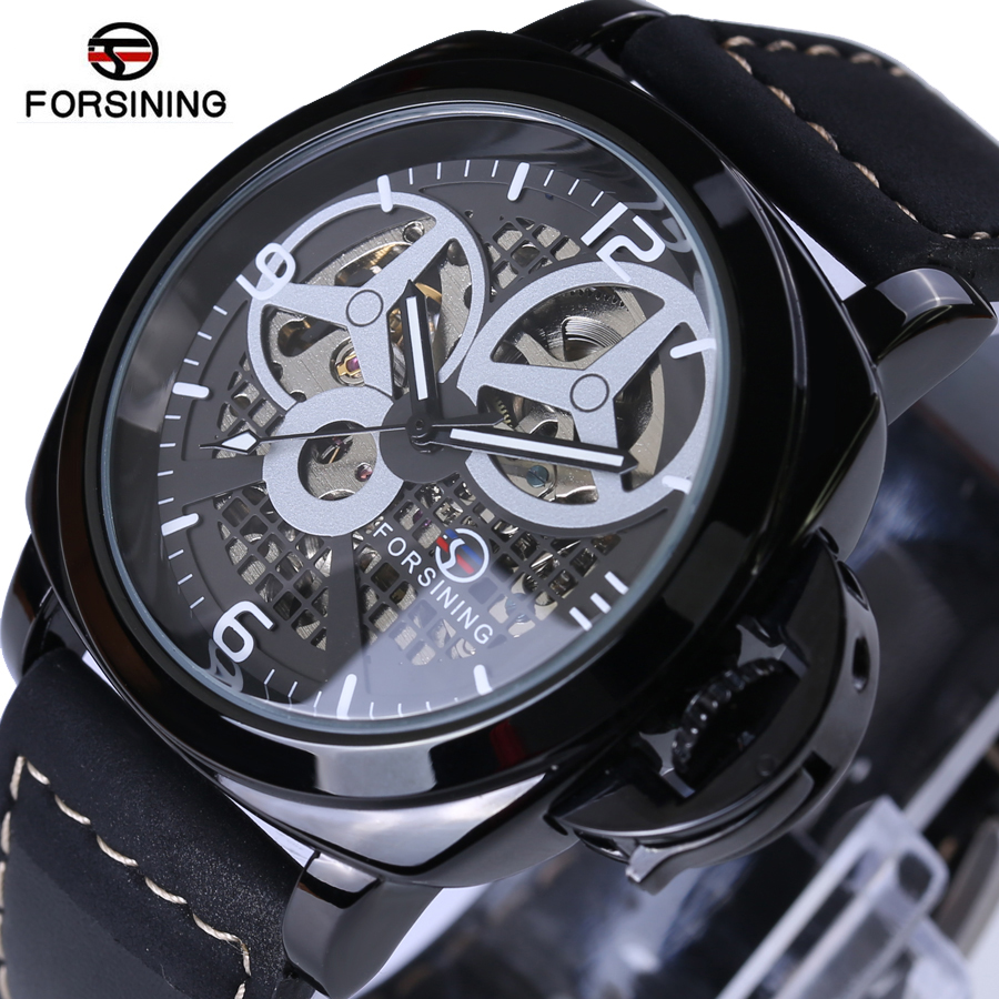 Forsining Automatic Mechanical Watch Mens Watches Top Brand Luxury Black Leather Skeleton Watchbands Fashion Relogio Masculino ultra luxury 2 3 5 modes german motor watch winder white color wooden black pu leater inside automatic watch winder