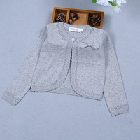 Children Girls Cardigan Sweater Long Sleeve Gray Bow Cotton Girls Coat For 1 2 3 4