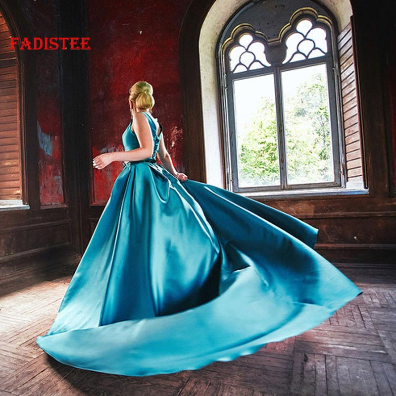FADISTEE new arrive evening prom long party style green dresses long chapel train sexy V neck