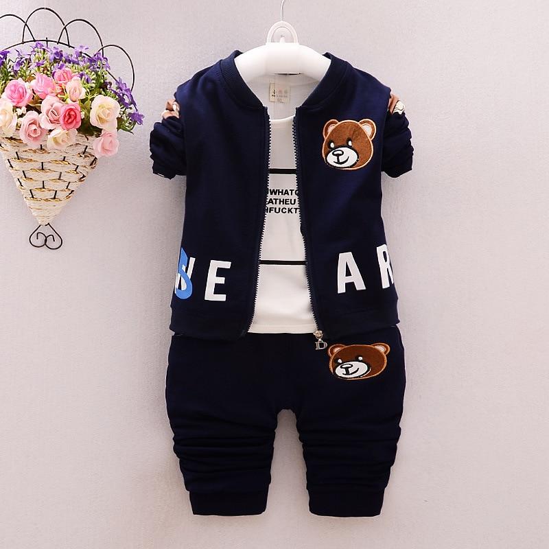 Nieuwe 2016 fashion karton beer katoen bebes 3 stks kleding set kids - Babykleding