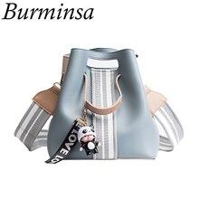 Burminsa милая сумка через плечо Маленькая широкая гитара ремень для девочек дизайнерская сумка высокого качества из искусственной кожи женская сумка мессенджер 2020