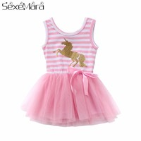 2018 Pretty Little Girl Baby Unicorn Dress Summer Sleeveless Striped Pink Mesh Tulle Party Wedding Tutu Summer Dress