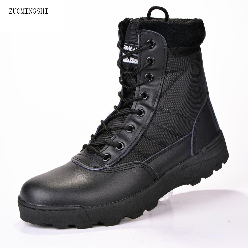 XPAY Winter us Military leather boots for men Combat