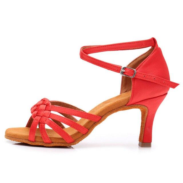 New Women's Latin Dance Shoes Ballroom Tango Ladies Girls Comfortable Satin Dancing Shoes For Women Grils Red White 5/7CM Heel 3