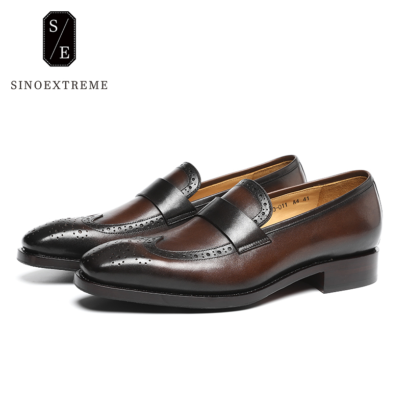 SINOEXTREME Handmade Mens Leather Loafers Shoes Autumn Spring Men's Flats Men Slip On Moccasins Metal Driving Shoes pjcmg spring autumn black brown slip on crocodile style casual men genuine leather moccasins loafers men flats driving shoes