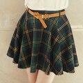 Faldas para mujer para el otoño invierno primavera a cuadros moda falda delgada de la cadera falda arroja falda corta estilo preppy con la correa JX101