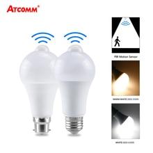 E27 B22 אמפולה LED PIR Motion חיישן אור הנורה 18W 15W 12W 110V 220V IP42 LED מנורת קיר חיצוני מרפסת מוסך מסלול תאורה