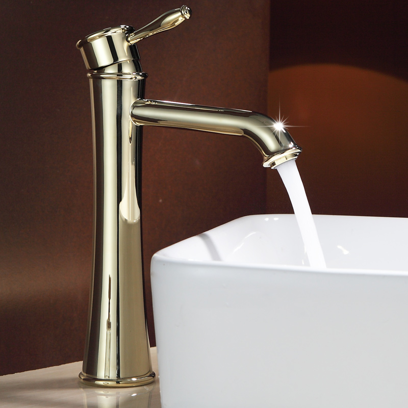 Vintage Antique Full copper Brass pedestal basin faucet Gold finish Polish single hole single holder wash Hot and Cold water tap 2015 new arrival kitchen faucet tap fashion copper antique and porcelain counter basin hot cold faucet vintage wash single hole