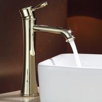 Vintage Antique Solid Brass Pedestal Bathroom Basin Faucet Gold Finished Single Lever Hot and Cold Bibcock Water Tap