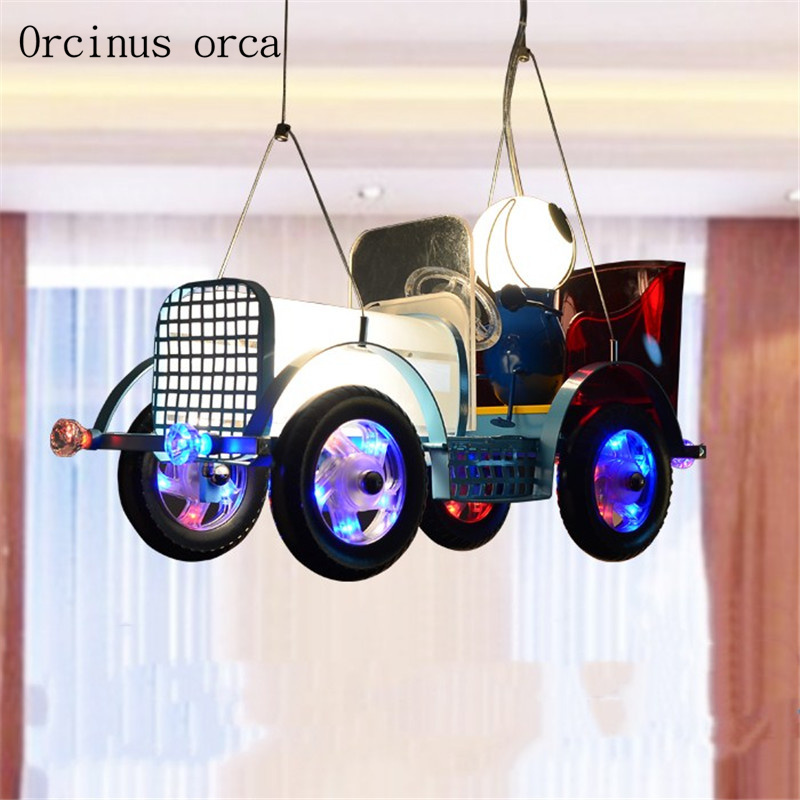 American retro creative Vintage car chandelier boy bedroom children's room lamp modern cartoon car pendant lamp free shipping
