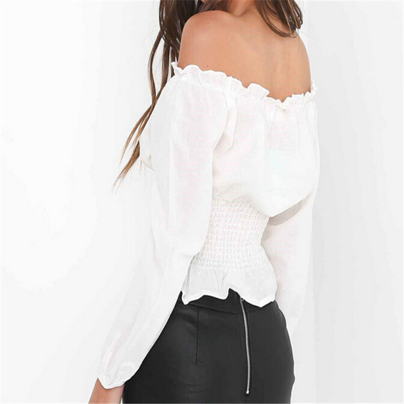 f1957f9865 2018 Summer Sexy High Street Tops Womens Lace up Satin Corset Blouse  Lantern Sleeve Off Shoulder Top Corset Shirt Blusa Mujer-in Blouses   Shirts  from ...