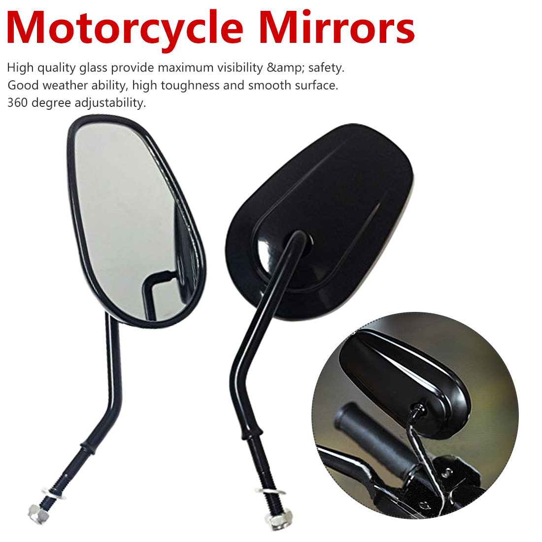 Road Rear Side Mirror King Bobber Street Glide Motorcycle Chopper King Touring Road For Harley