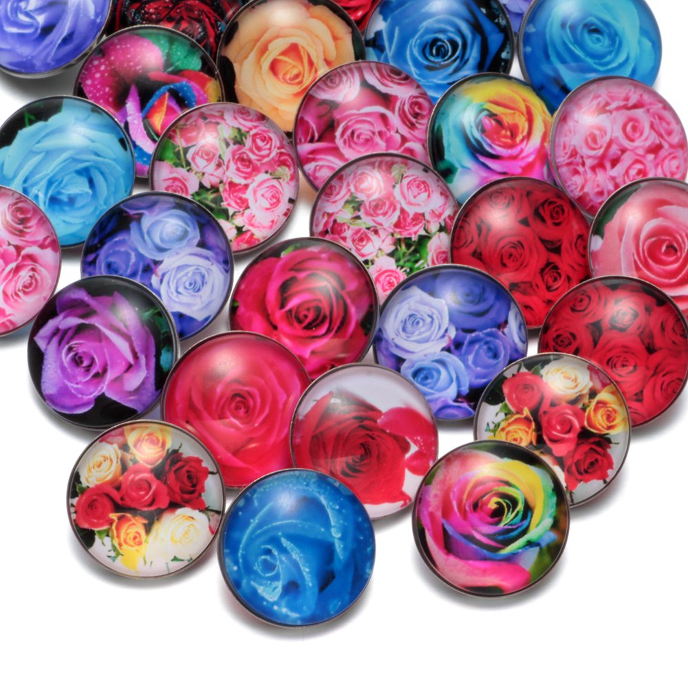 50pcs/Lot Rose Flower Pattern Multi Color Glass Charms 18mm Snap Button Jewelry For 18mm Snaps Bracelet Snap Jewlery KZHM021