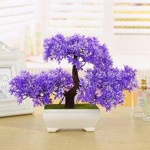 Mini welcome pine potted simulation, landscape plants bonsai, flowers home, garden decoration, simulation flowers