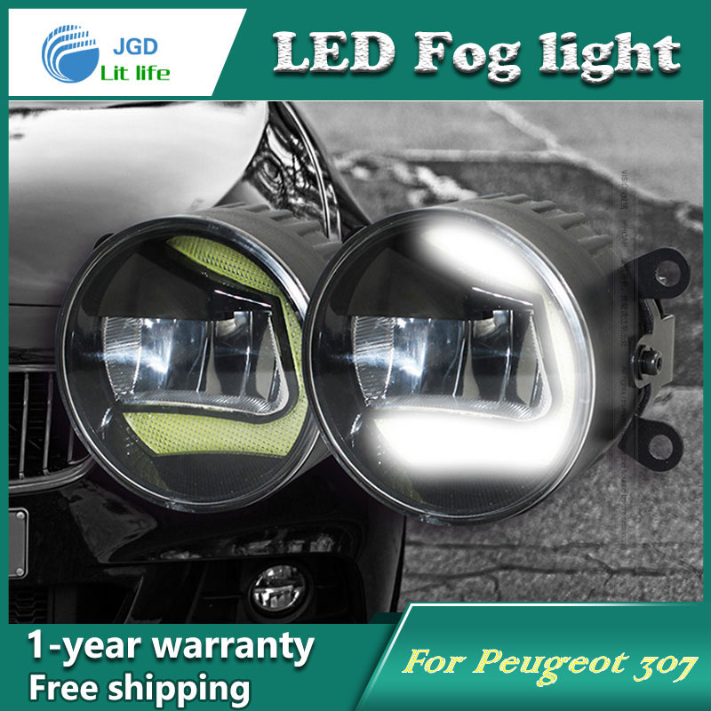 цена на Super White LED Daytime Running Lights case For Peugeot 307 Drl Light Bar Parking Car Fog Lights 12V DC Head Lamp