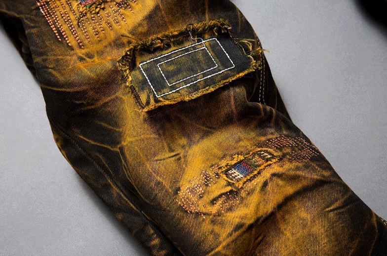 Nya herrsmode tappning hål rippade biker jeans Män casual slim rak - Herrkläder - Foto 3