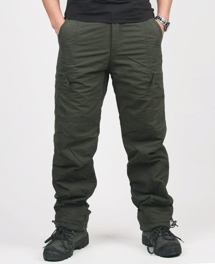 Image 2 -  グループ  上の 高品質冬暖かい男性厚いパンツ二重層軍事軍迷彩、戦術的な綿のズボンブランド服
