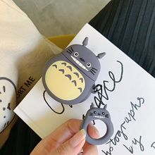 Cute Silicone Case for AirPods Bluetooth Earphone Apple Airpods 2 Cartoon Protective Cover Luxury Design 3D Grin Totoro