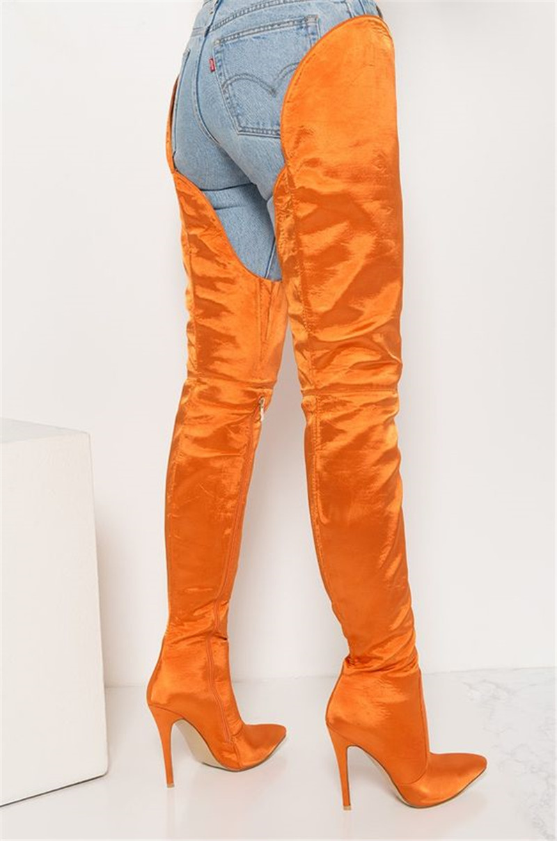 New Fashion Orange Pointed Toe Pant Over The Knee Boots Sexy Ladies High Heels Party Shoes Women Thigh Crotch High Boots 2018New Fashion Orange Pointed Toe Pant Over The Knee Boots Sexy Ladies High Heels Party Shoes Women Thigh Crotch High Boots 2018