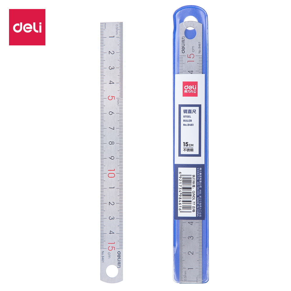 Deli Steel Metal Iron Stainless Straight Inch Ruler 15cm 8461