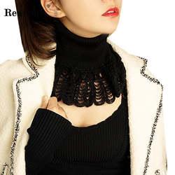 RealShe 2018 одноцветное накладной воротник от рубашки черная блузка Винтаж с элегантным съемным воротником кружева воротники-обманки галстук
