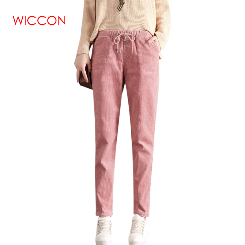 New Fashion Corduroy Pants Women Autumn High Waist Harem Pants Pantalon Femme Casual Trousers Women Solid Ladies Pants