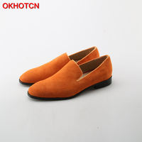 OKHOTCN Pointed Toe Orange Oxfords Suede Leather Dress Men Shoes Fashion Zapatillas Hombre Slip on Male Formal Shoes Size 46