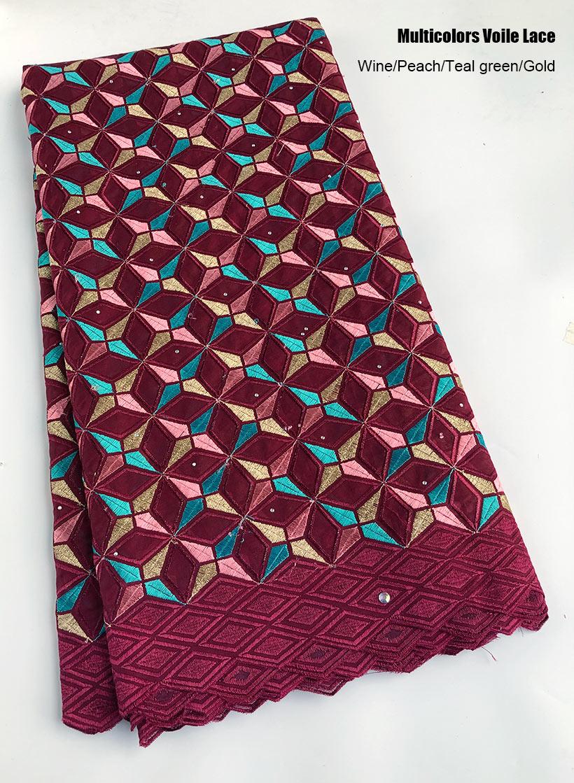 5 yards multicolors 스위스 voile 레이스 부드러운 코 튼 아프리카 레이스 패브릭 나이지리아 의류 바느질 천으로 구멍없이 높은 품질-에서레이스부터 홈 & 가든 의  그룹 1