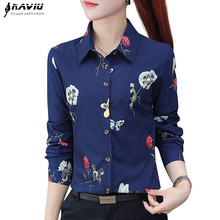 Naviu new fashion Flower Print Blouse Women 2019 Spring long sleeve office blouse plus size tops formal clothes