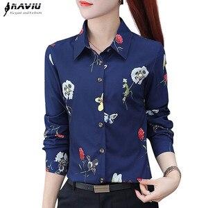 Image 1 - Naviu nouvelle mode fleur impression Blouse femmes 2019 printemps à manches longues bureau blouse grande taille hauts vêtements formels