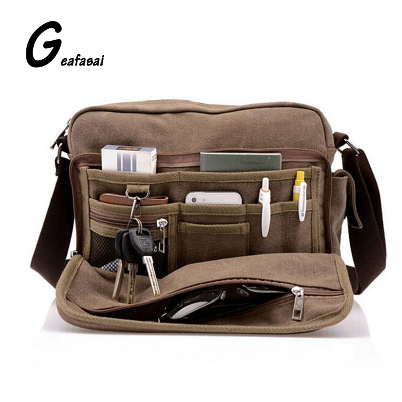 solid color khaki brown black Canvas casual High capacity Multifunction Vintage Style Mini small Men crossbody shoulder flap Bag salter air fryer home high capacity multifunction no smoke chicken wings fries machine intelligent electric fryer